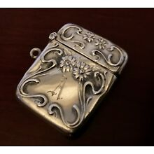WEBSTER ~ DAISIES CHATELAINE - STERLING SILVER VESTA STAMP BOX NOUVEAU VICTORIAN