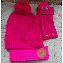 NWT BETSEY JOHNSON PINK FINGERLESS GLOVE AND BEANIE HAT W/ POMPOM SET W/ SPIKES