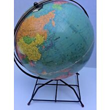 Vintage Rare 1950's Replogle 12inch World Globe With Metal Stand And Tilt Handle