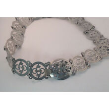 Victorian Sterling Silver 33in Nurses Belt Lotus Floral Antique Chinese Export