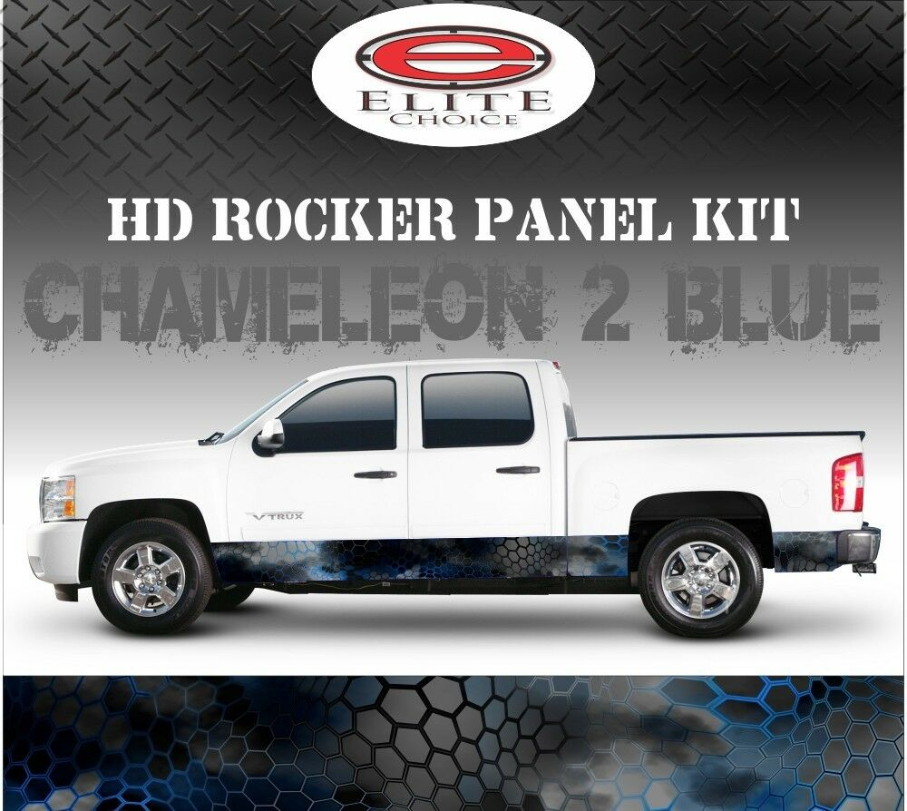 Details about hex 2 blue camo rocker panel graphic decal wrap truck suv 12 x 24ft