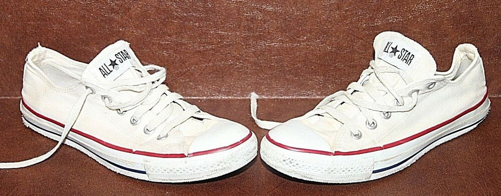 9b6869f0aac2 Details about Vintage Low White Converse Made In USA All Star Womens Sz 7  Mens Sz 5
