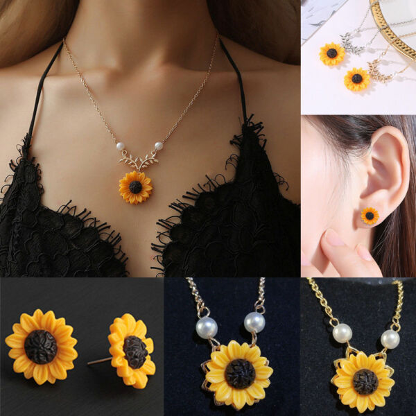 Chic Women's Sunflower Pearl Necklace Earrings Temperament Sweater Pendant New
