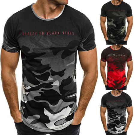 img-Men's Slim Fit Short Sleeve Muscle Tee Shirts Casual T-shirt Tops Blouse Fashion