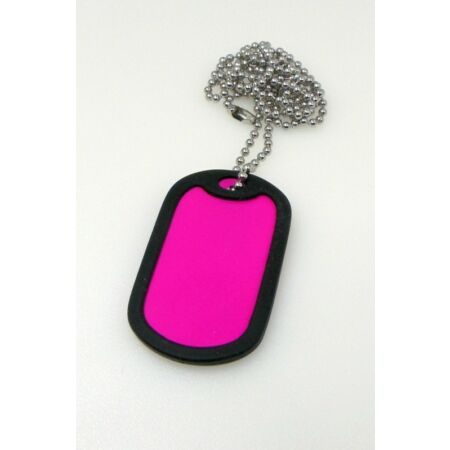 img-1 x Military Dog Tag in PINK with 1 x Chain, Army ID Tag, Necklace Soldier