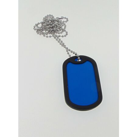 img-1 x Military Dog Tags in BLUE with 1 x Chain, Army ID Tag, Necklace Soldier