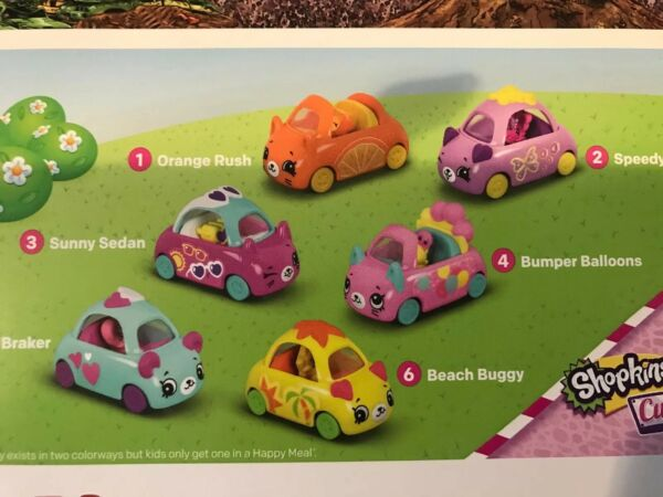 MCDONALD'S 2019 SHOPKINS CUTIE CARS - COMPLETE SET OF 6. SHIPPING NOW!!