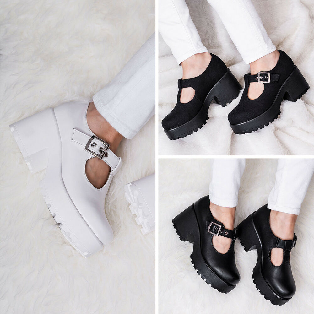 57ef2558f97 Details about SPYLOVEBUY CATTIE BLOCK HEEL CLEATED SOLE BUCKLE PLATFORM  ANKLE BOOTS