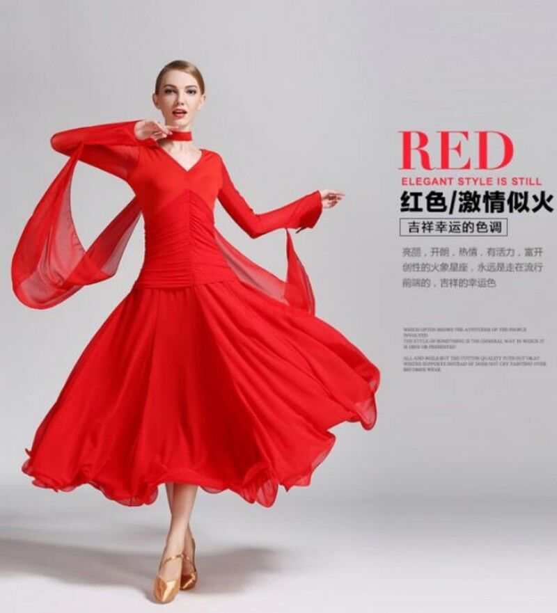 7ae1518f9 Details about Womens Foxtrot Waltz Ballroom Modern Tango Dance Dress V-neck  Long Sleeve Dress
