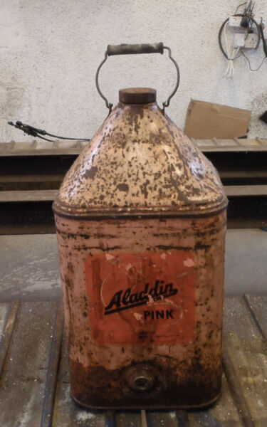 Vintage Oil Can,Aladin Pink Paraffin 5 Gallon Drum,Can,Tin,Bottle Type with cap