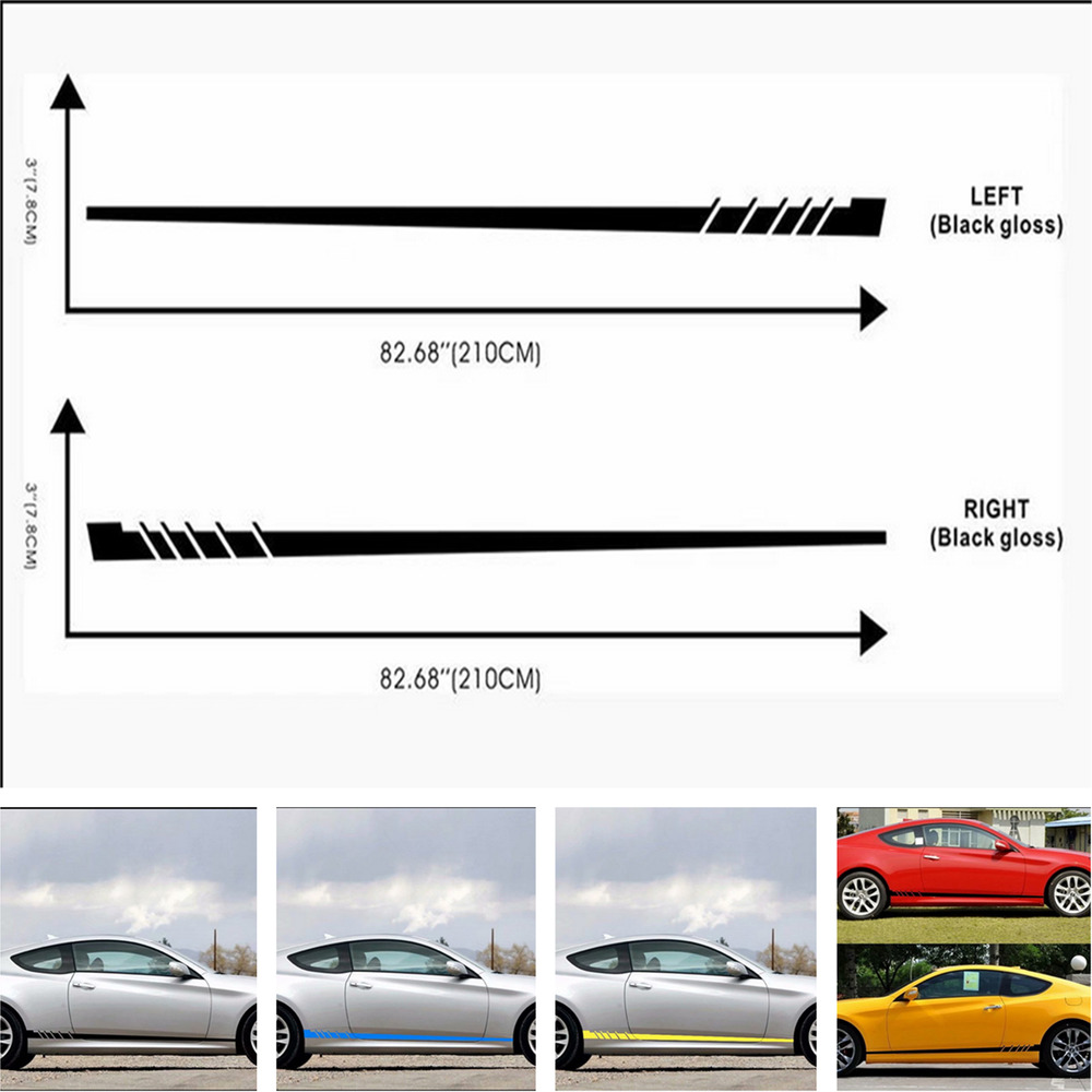 Details about 2pcs stripes left right side car truck stickers vinyl decal graphics waterproof