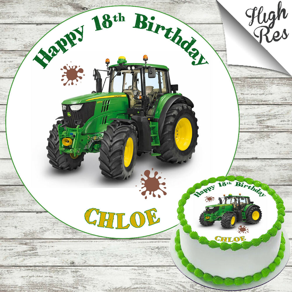 Details About JOHN DEER TRACTOR EDIBLE ROUND BIRTHDAY CAKE TOPPER DECORATION PERSONALISED