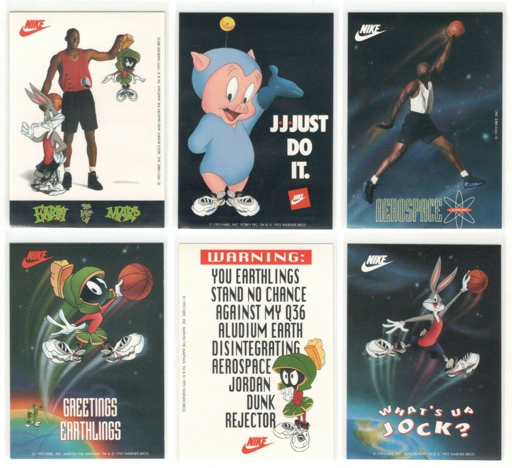dcb277f3d4ae Rare MICHAEL JORDAN 1993 Nike Air Jordan Looney Tunes Sticker Set (12) Space  Jam