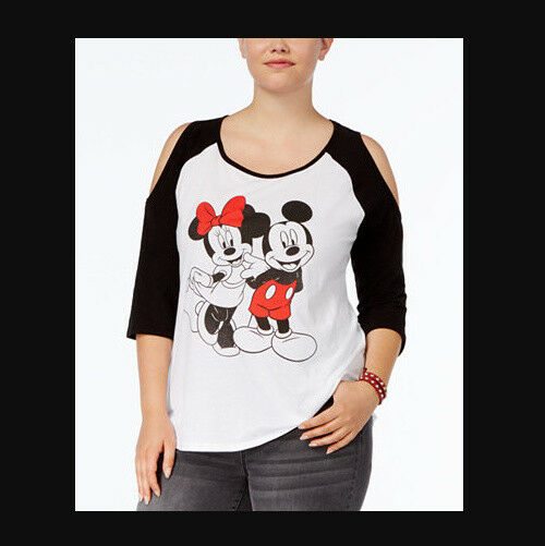 34839328 Details about DISNEY NWT Cold Shoulder MICKEY MINNIE MOUSE Shirt Womens  PLUS 1X 14 16 Baseball