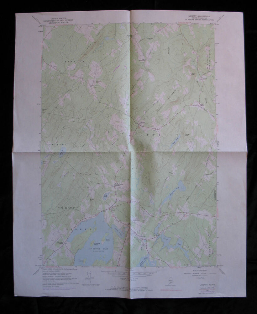 Liberty Maine 7 5 Min Quad Topo Map 1961 1983 Montville Freedom St