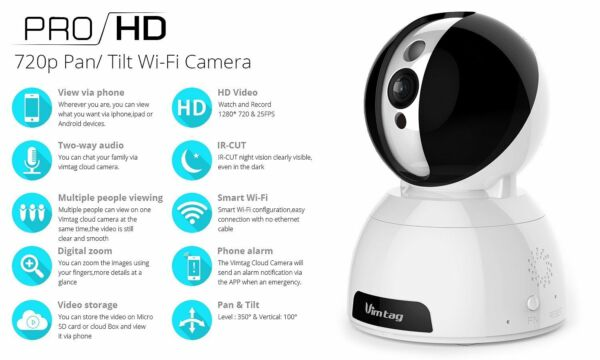 Vimtag CP1 IP Video camera di sorveglianza domestica Cloud Snowman HD 720P WiFi