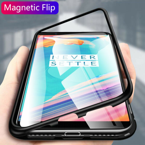 For OnePlus 5T 6 6T 7 7 Pro Magnetic Adsorption Metal Tempered Glass Case Cover