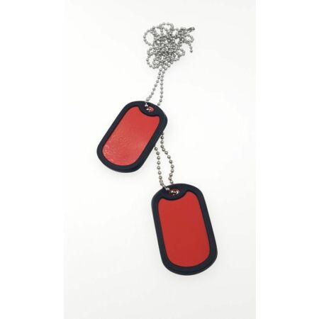 img-2 x Military Dog Tags in RED with 2 x Chain, Army ID Tag, Necklace Soldier