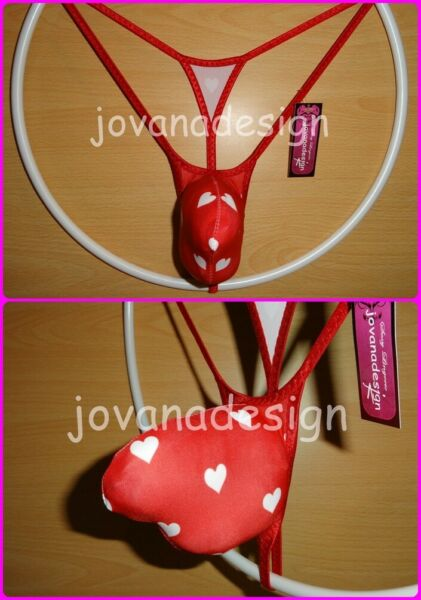 jovanadesign 3D String(1) Contour Pouch, Valentine String, White Hearts on Red