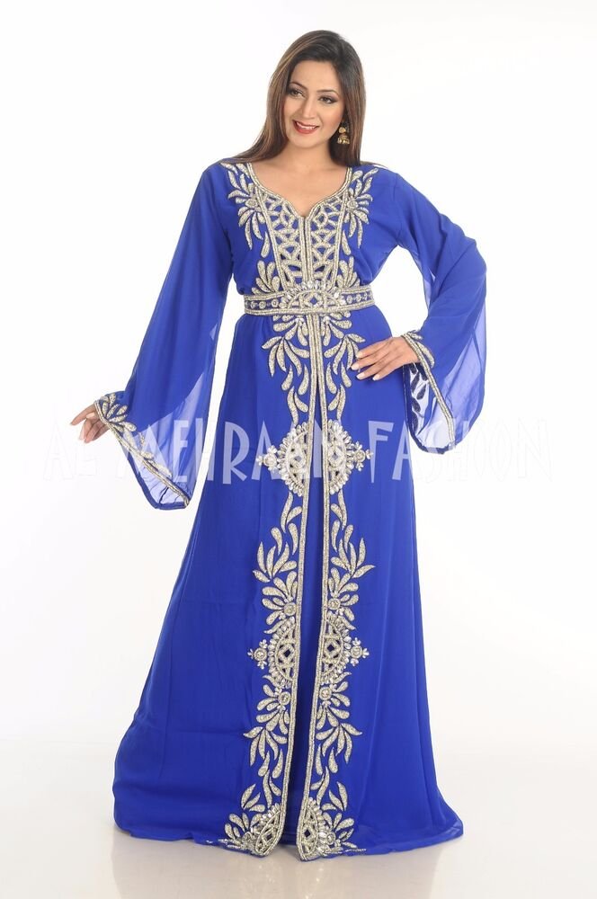 4ad2918392 Details about ROYAL ISLAMIC WEDDING GOWN PARTY WEAR DUBAI MOROCCAN KAFTAN  ARABIAN THOBE 516