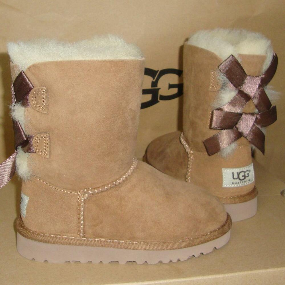 c490a0e82ca Details about UGG Australia BAILEY BOW Chestnut Suede Boots TODDLER Size US  10 NIB  3280 T