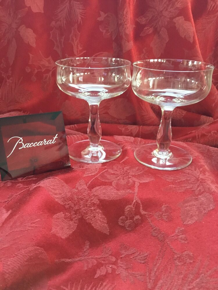 c7cb11aa7bd1 Details about FLAWLESS Exquisite BACCARAT Pair LONGCHAMPS Crystal CHAMPAGNE  SHERBET Glasses