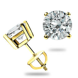 Kyпить 2.00CT ROUND CUT CREATED DIAMOND EARRINGS 14K SOLID YELLOW GOLD STUDS SCREW-BACK на еВаy.соm