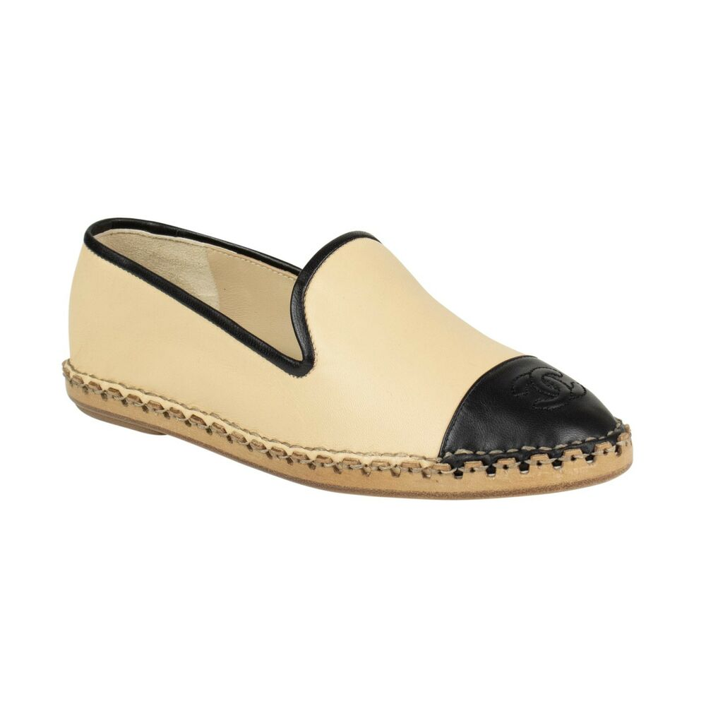 955852d12462 Details about NIB CHANEL Beige Black Lambskin Leather Logo Loafers Flats  Shoes Size 5 36
