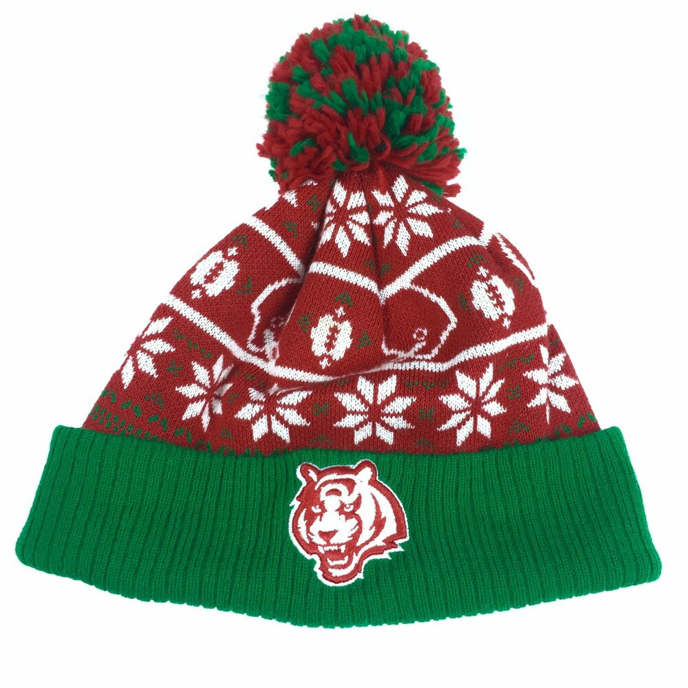 Details about NFL Bengals Winter Hat Pompom Green Red Football Snow Adult  One Size Cincinnati b92671bc36e