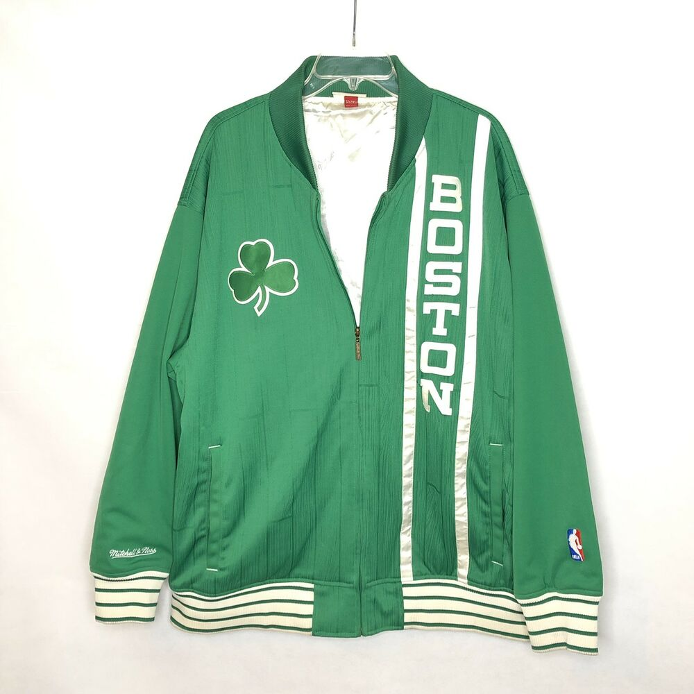 c2c85cf9ec2 Details about VINTAGE Mitchell and Ness Boston Celtics Fully Lined Bomber  Coat Jacket 2XL