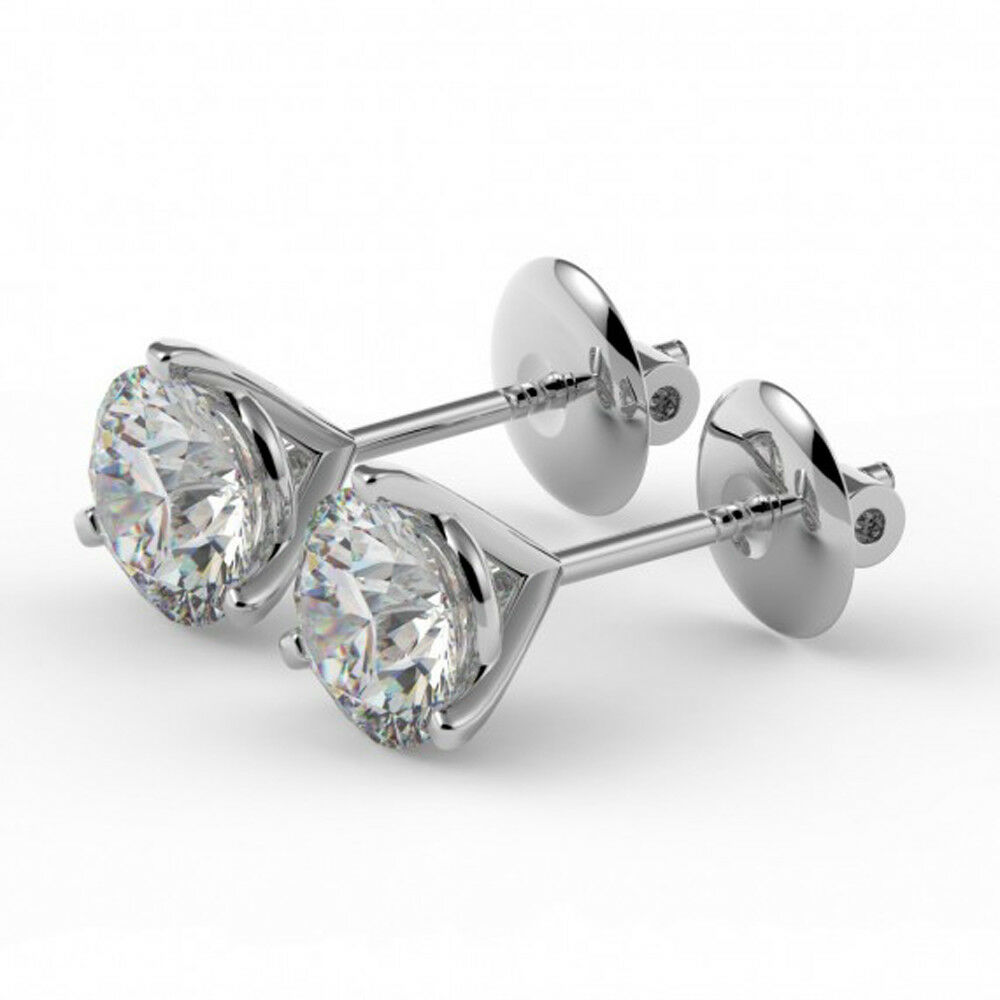 6a4a9fd23 Details about 4.00 Ct Emerald Cut Solitaire Diamond Earring 14K Real White  Gold Stud Earrings