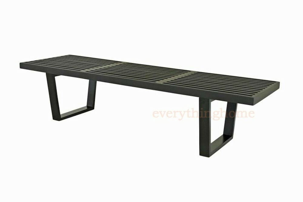 George Nelson Style Black Slotted Wood Bench Seat Coffee Table 5 Ft