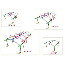 1-1/2'' Pipe High Peck Canopy Fittings Kit for 10' x10'/20'/30'/40' Carport Patio