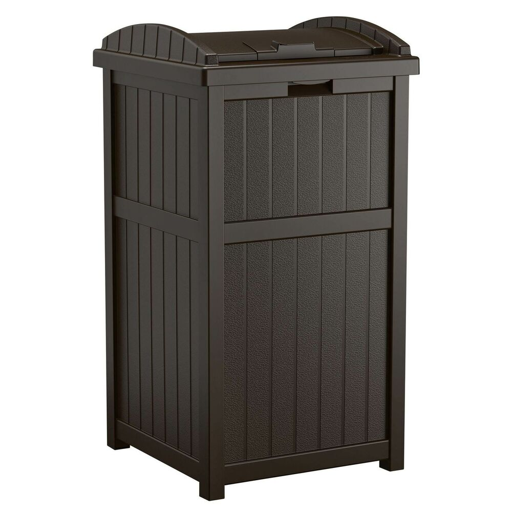 Details About Suncast Hideaway Outdoor 33 Gallon Garbage Waste Trash Can Bin Java 2 Pack