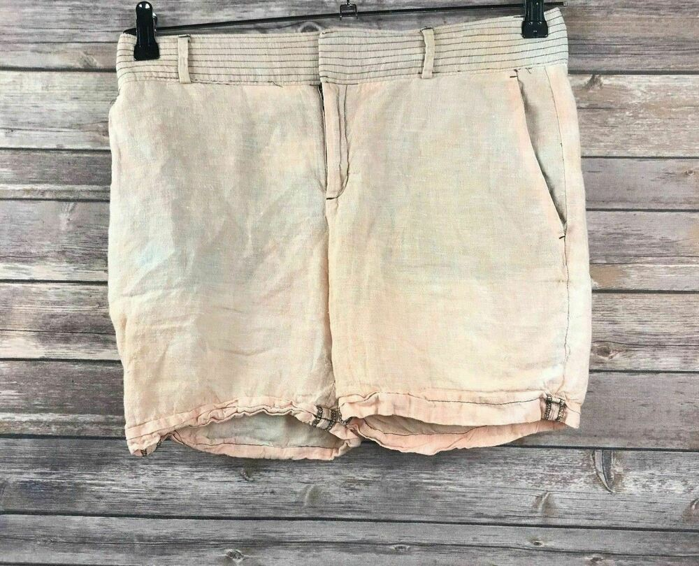 a836475397a4 Details about Banana Republic Women s 100% Linen Coral Tie Dye Martin Fit  Casual Shorts Size 6