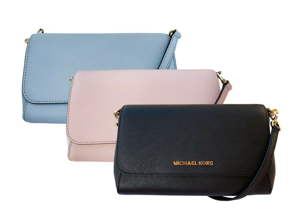 66a7220e5717 Michael Kors Jet Set Medium Convertible Pouchette Crossbody Black Pink Blue  | eBay