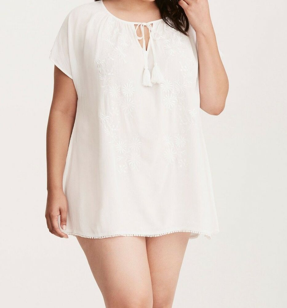 fa67962eaa Details about Torrid Embroidered Swim Tunic Cover Up White 3X 22 24 #15445