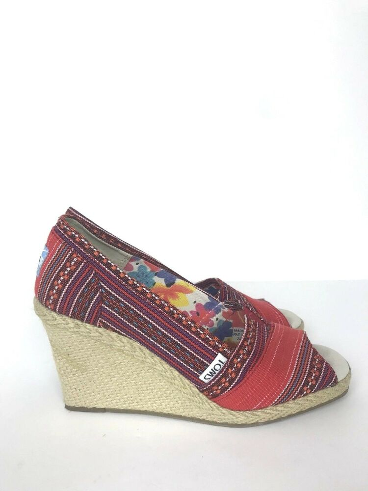 047a7f41e0b Details about TOMS Stella Red Aztec Tribal Peep Toe Espadrille Wedges Heels  Sandals Women s 6