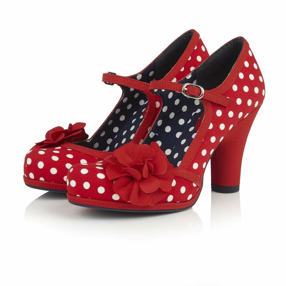 d27e10d0a635 Details about Ruby Shoo New Ladies Vintage Hannah Red Polka Dot Retro  Rockabilly Style Shoes