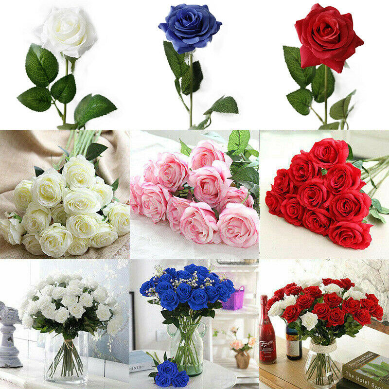 Large Dried Artificial Rose Silk Flower Heads Floral Fake Wedding