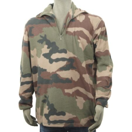 img-FRENCH ARMY SURPLUS CAMO FLEECE XL 2XL ZIP PULLOVER JUMPER MILITARY CAMOUFLAGE