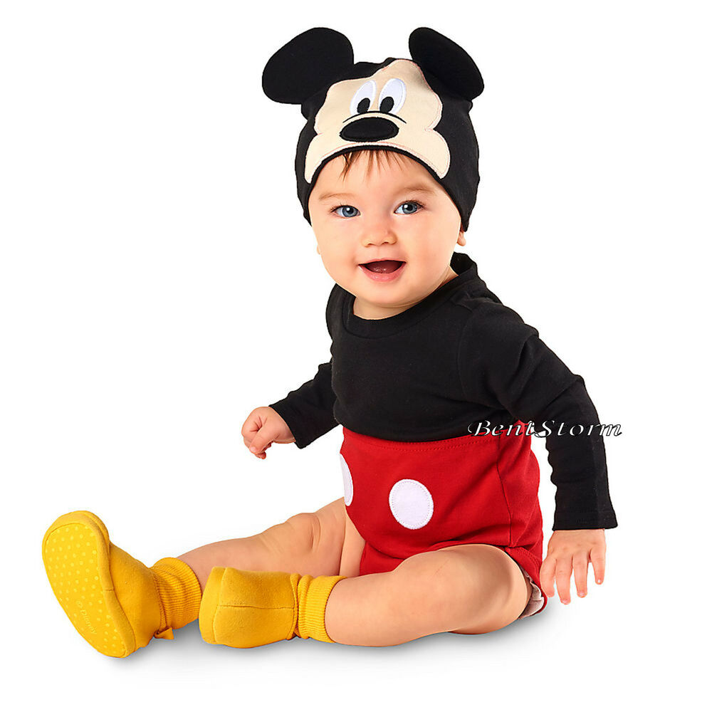 f90513ca15d Details about Mickey Mouse Baby Bodysuit Dress Up Costume W  Ears Hat  Disney Store 0-12 Months