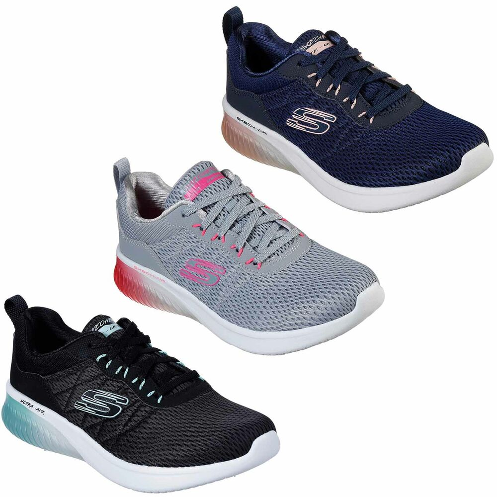 df2e6113fd8e Details about Skechers Skech-Air Ultra Flex Trainers Cushioned Sporty Mesh  Womens Shoes 13290