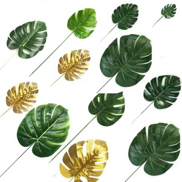 12 Artificial Tropical Monstera Leaf Palm Leaves Hawaiian Party Decor Photo prop