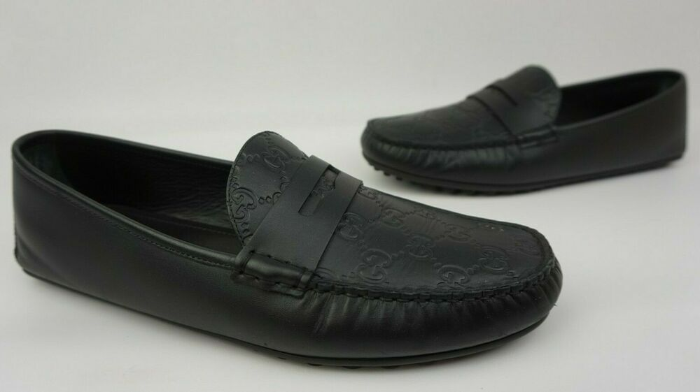 2c4369efcfb Details about Gucci Men s Black Leather GG Guccissima Driving Loafers Shoes  Size 10 G   11 US