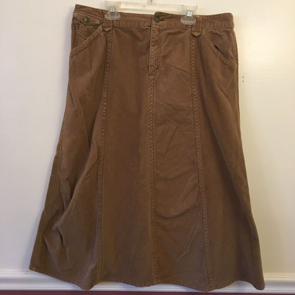b37f2a3e85 Details about Eddie Bauer Womens Petite 12 Skirt Solid Beige Tan Corduroy  Long Casual ALine AC