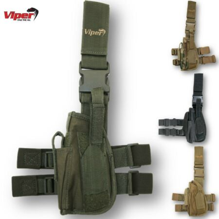 img-VIPER TACTICAL LEG HOLSTER LEFT HANDED MODULAR PISTOL AIRSOFT MOLLE WEBBING ARMY