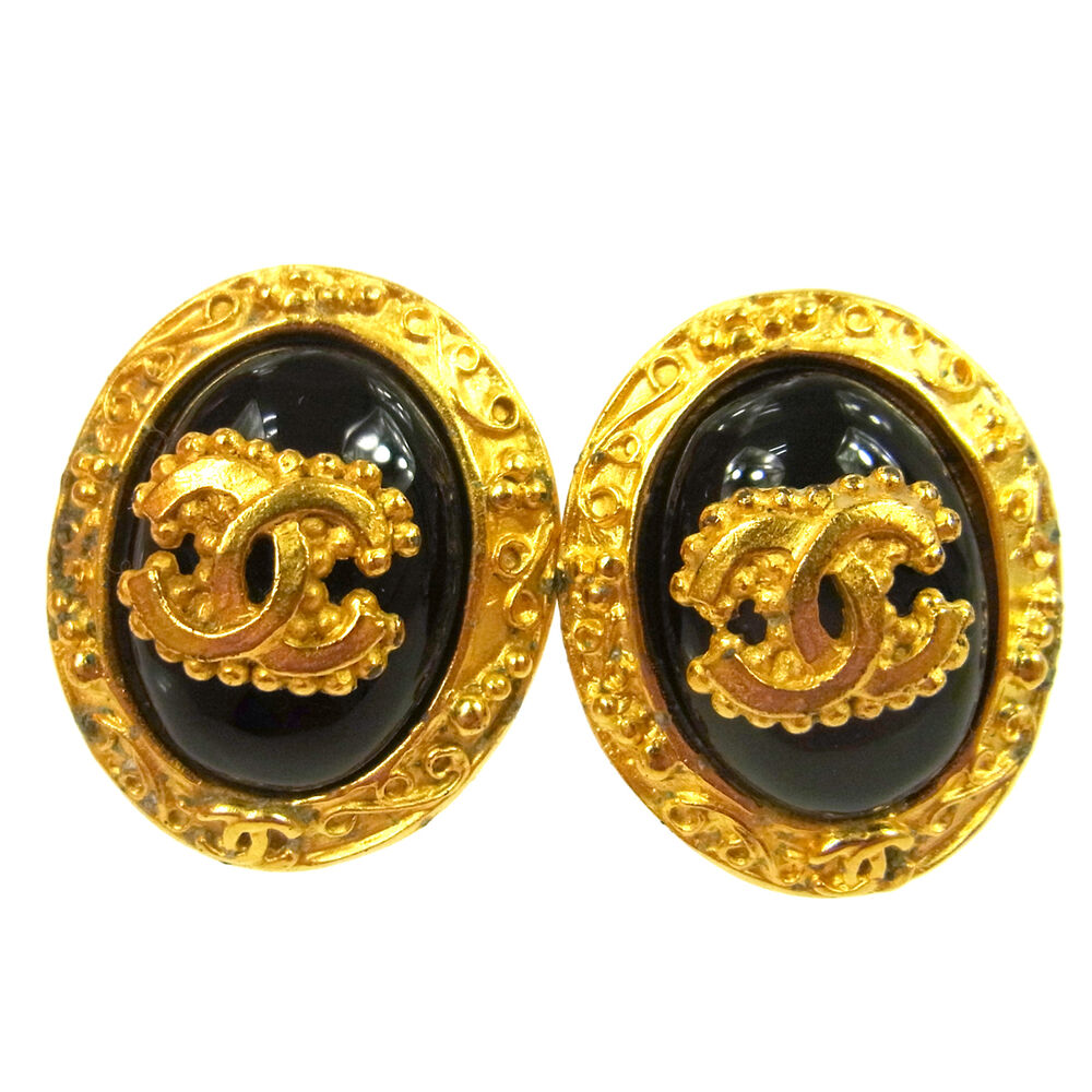 61f7f9ff7783 Details about Authentic CHANEL Vintage CC Logos Stone Motif Earrings 1.0