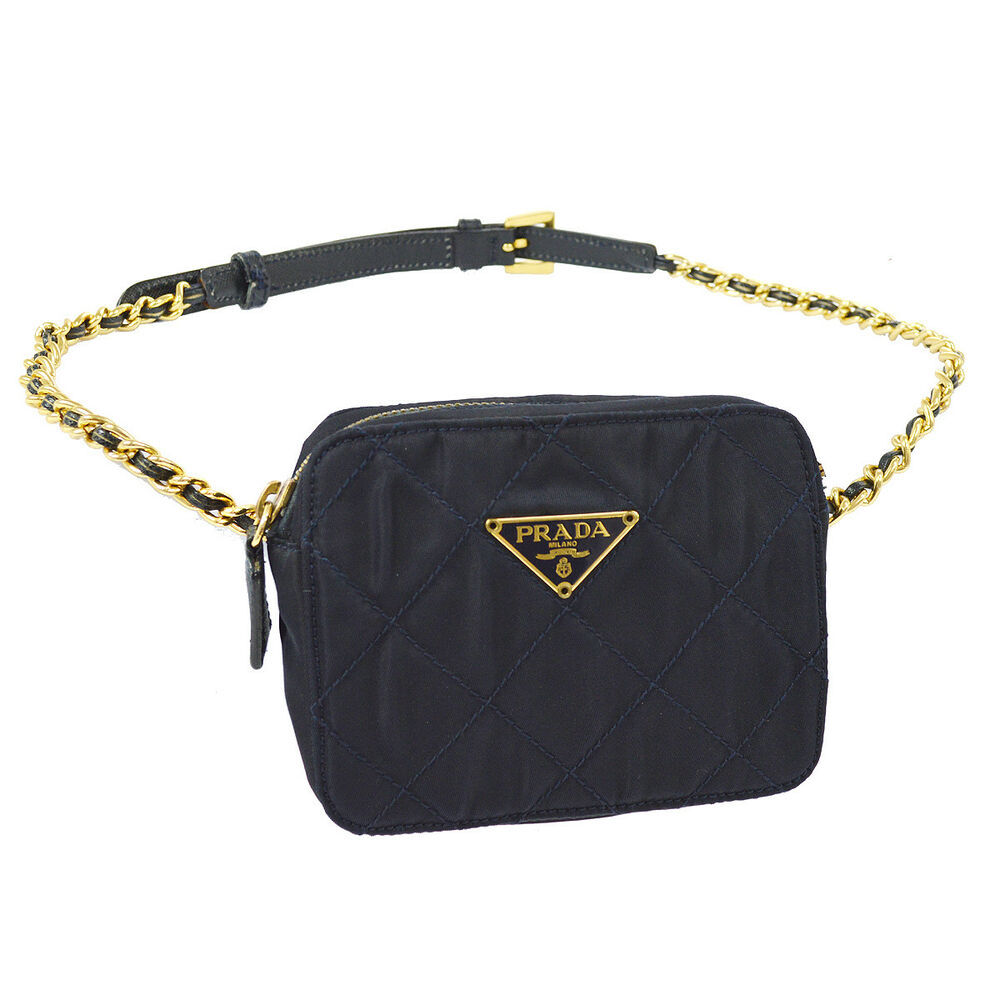 18421c7d9a6b Details about Auth PRADA Quilted Chain Bum Bag Waist Pouch Navy Nylon Italy  Vintage AK26741
