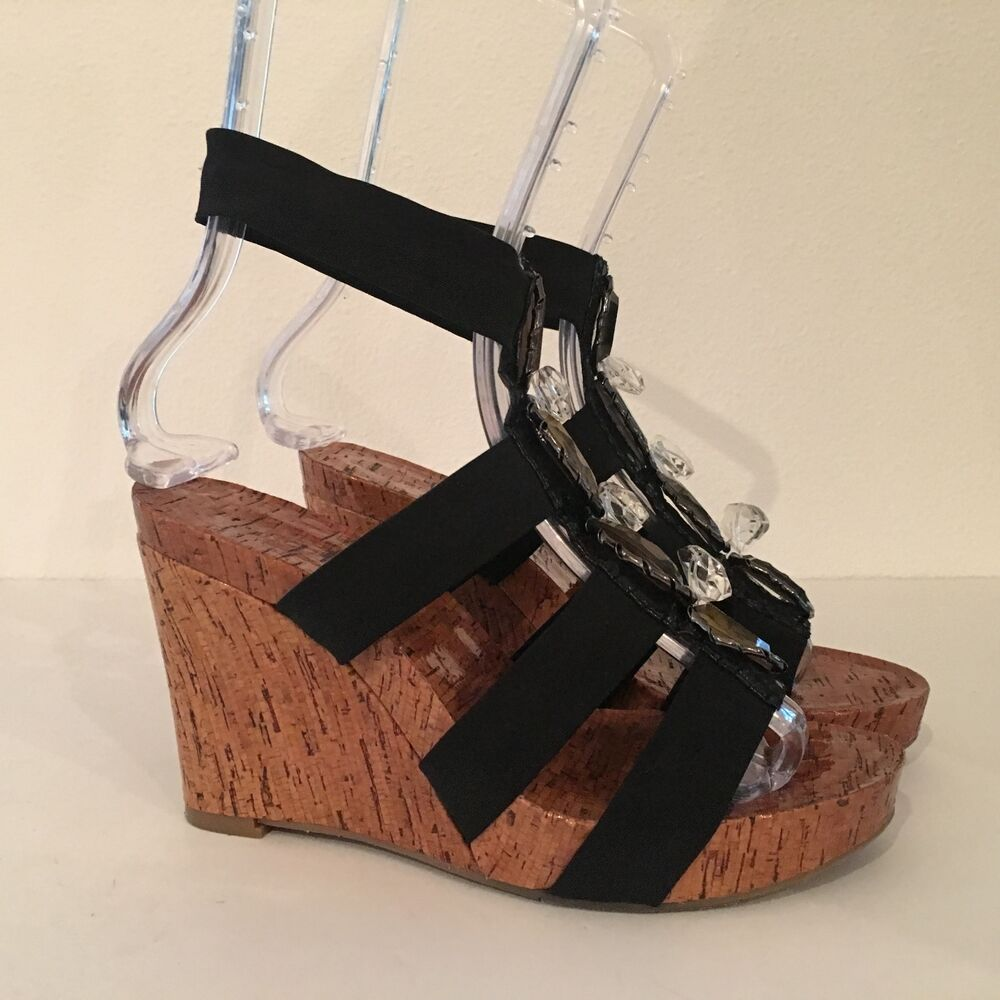 7b2fa70e5 Details about ARTURO CHIANG BLACK WEDGE ELASTIC STRAP BEJEWELED GLADIATOR  SANDALS SIZE 7M